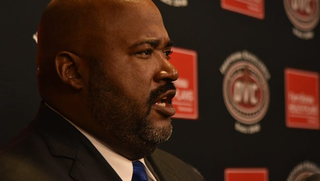 Rod Reed speaks with members of the media during OVC Media Day on July, 24.
