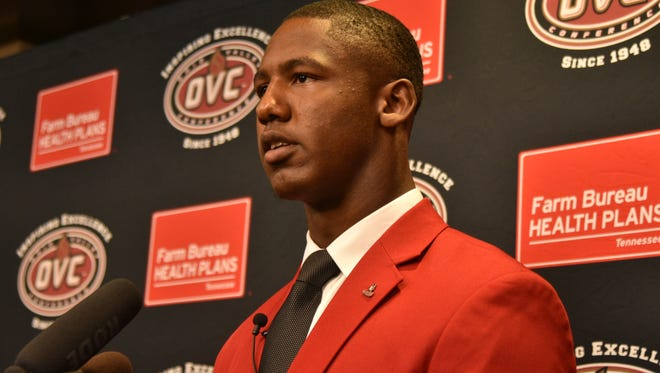 Austin Peay football player Malik Boynton speaks with members of the media during OVC Media Day on July, 24.