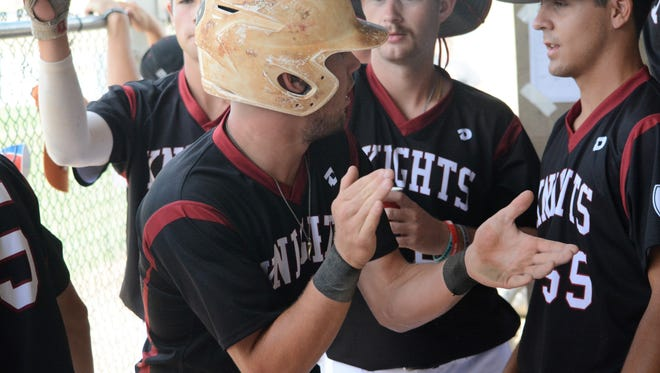 Thomas Zazzaro of the Nashville Knights gets pumped up in the dugout after scoring a run in the top of the first inning Sunday at Farmington Sports Complex.