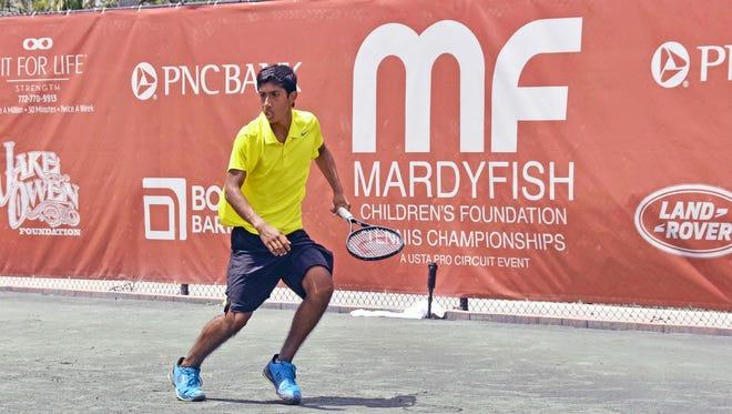 Matthew Segura plays at the Mardy Fish Tennis Championships on April 25, 2018.