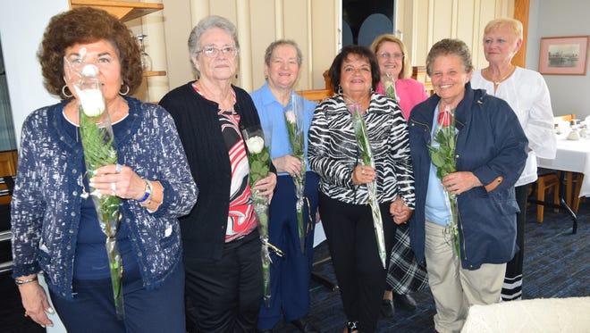 Persons sworn into office are (left to right) Barbara Sottilaro, Linda Luden, Barbara Stack, Linda Cruz, Marcella Massopust, Joann Frontera and Jeanette Miller.