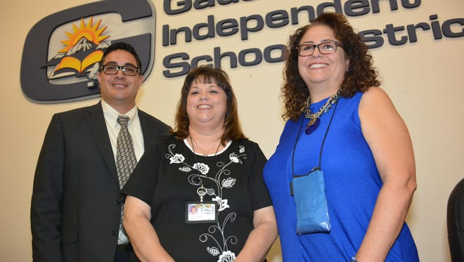 New Gadsden Independent School District principals are, from left, Guillermo Cardona, principal at Anthony Elementary School, Victoria Lopez, principal at Chaparral High School, and Diane Ludwig, assistant principal and head of Desert Pride Academy.