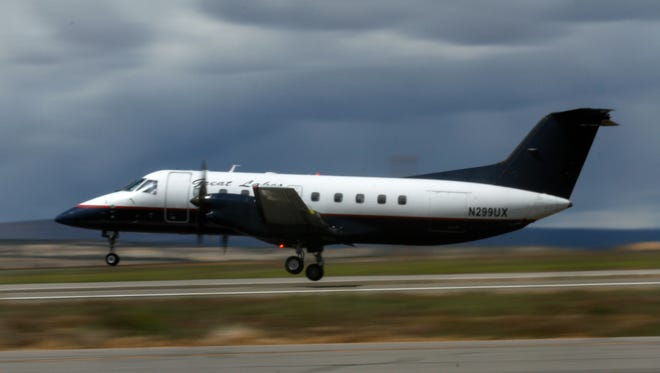 A Great Lakes Aviation airplane takes off for Denver on May 18 at the Four Corners Regional Airport in Farmington in this file photo.