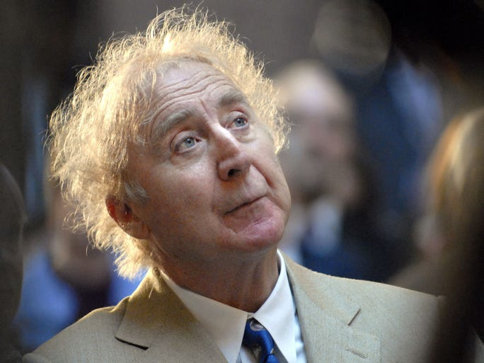 Gene Wilder, who starred in such film classics as 'Willy Wonka & the Chocolate Factory' and 'Young Frankenstein,' has died at 83. In this April 9, 2008, file photo, the actor listens as he is introduced to receive the Governor's Awards for Excellence in Culture and Tourism at the Legislative Office Building in Hartford, Conn.