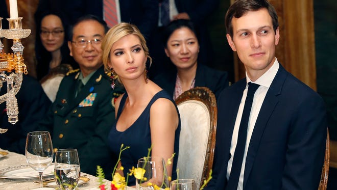 In this April 6 photo, Ivanka Trump, second from right, the daughter and assistant to President Trump, is seated with her husband White House senior adviser Jared Kushner, right, during a dinner with President Trump and Chinese President Xi Jinping, at Mar-a-Lago, in Palm Beach, Fla.