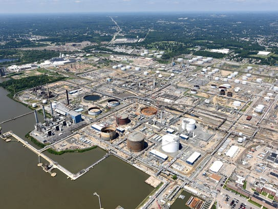 The Sun Refinery in Marcus Hook, Pennsylvania is shown