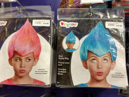 The Trolls movie-theme costumes are a big hit with