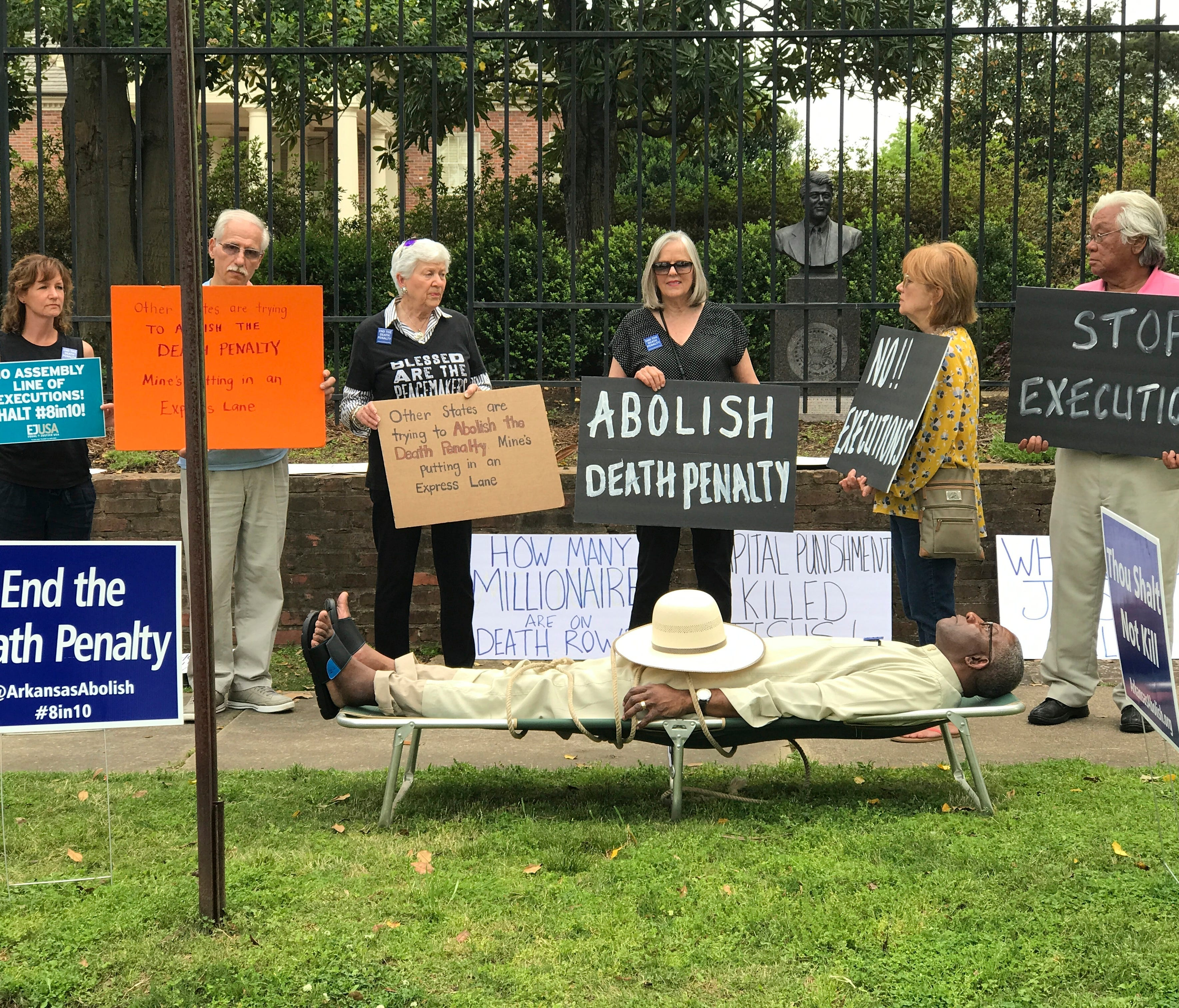 Judge Wendell Griffen of Arkansas' 6th Judicial Circuit Court takes part April 14, 2017, in an anti-death penalty demonstration outside the Governor's Mansion in Little Rock, Ark.