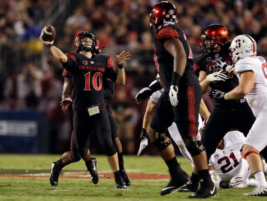 San Diego State quarterback Christian Chapman throws a pass during the first half of an NCAA college football game against Stanford Saturday, Sept. 16, 2017, in San Diego. (AP Photo/Gregory Bull)