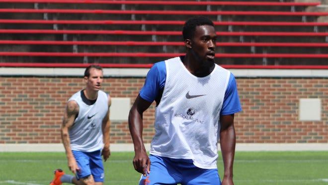 FC Cincinnati forward Tomi Ameobi during practice.