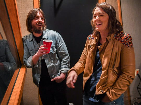 "Producer Dave Cobb and Brandi Carlile laugh March 31, 2017, at RCA Studio A in Nashville. Carlile's Grammy-nominated ""By the Way, I Forgive You"" was co-produced by Cobb and recorded at Studio A."