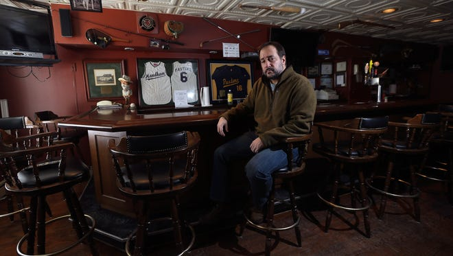 Filmmaker Tony Germinario at the Pastime Club in Mendham where some of the scenes in his film, 'Bad Frank'  were shot. iThe film will start playing festivals this year. January 26, 2016, Mendham, NJ.