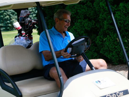 """Former Detroit Lions Mike Lucci attends the """"Have a Heart Save a Life"""" celebrity golf outing organized by the Charlie Sanders Foundation at Knollwood Country Club in West Bloomfield, Mich. on Monday, June 6, 2016."""