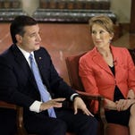 Republican presidential candidate Sen. Ted Cruz, R-Texas, and vice presidential candidate Carly Fiorina participate in a question and answer session with Fox News Channel's Sean Hannity at the Indiana War Memorial in Indianapolis.