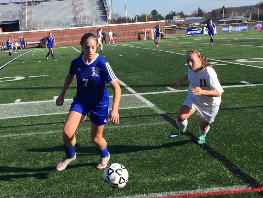 Wheatland-Chili's Allyssa Seilheimer (7) tries to control the ball.