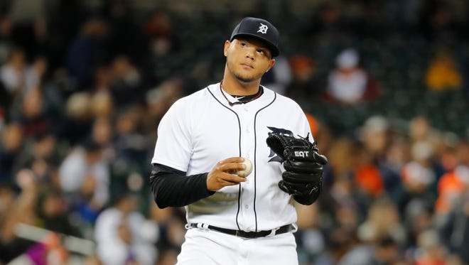 Detroit Tigers relief pitcher Joe Jimenez reacts to allowing a Tim Anderson home run in the ninth inning Friday night.