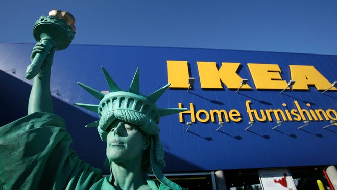 Penny England is the Statue of Liberty during the grand opening of New York City's first Ikea store June 18, 2008 in the Red Hook section of Brooklyn. The Swedish-based retailer, which sells easy-assembly furniture and house wares, has 34 other stores in the United States.