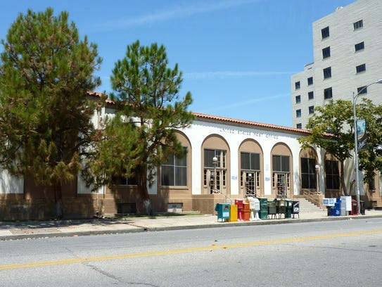 The Merle Haggard Post Office Building in downtown Bakersfield, Calif.
