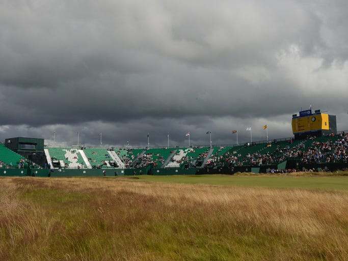 Ominous skies over the 18th green during Wednesday's practice round at the 143rd Open Championship at The Royal Liverpool Golf Club.