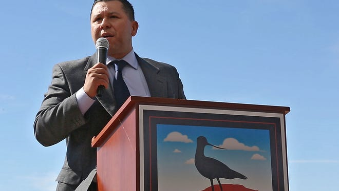 Assemblymember Eduardo Garcia speaks during the groundbreaking of the Red Hill Bay Restoration Project at the Salton Sea on Nov. 5, 2015.