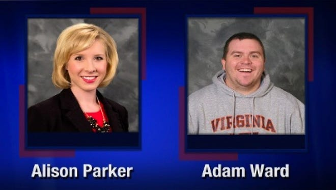 Handout image released by WBDJ-TV in Roanoke, Va., showing reporter Alison Parker and photographer Adam Ward, who were shot and killed by a gunman Wednesday.