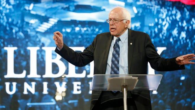 Bernie Sanders at Liberty University in Lynchburg, Va., on Sept. 14, 2015.
