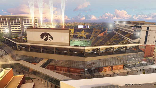 Artist rendering of Kinnick Stadium at the University of Iowa. Gage Brothers in Sioux Falls has been awarded a contract for materials for the stadium.