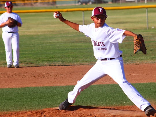 Tularosa's Isaac Little throws a pitch during the opening