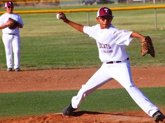 Tularosa's Isaac Little throws a pitch during the opening round of the District 2 majors all-star tournament.