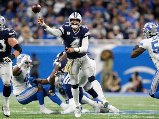 Nov 17, 2019; Detroit, MI, USA; Dallas Cowboys quarterback Dak Prescott (4) passes the ball during the fourth quarter against the Detroit Lions at Ford Field. Mandatory Credit: Raj Mehta-USA TODAY Sports