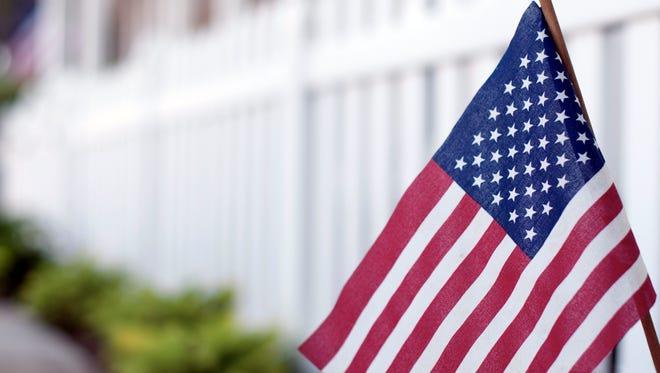 American flag on Main Street USA