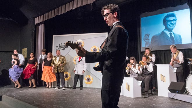 Sean Hopper and cast rehearse a scene from Visalia Players production of the Buddy Holly story at the Ice House Theater. Photo taken on Tuesday, June 6, 2017.