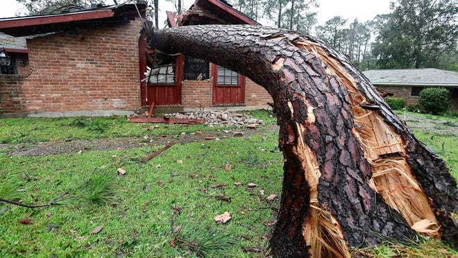 A large tree is down in a house Thursday in the country club area of DeRidder, Louisiana, following a direct hit overnight  by Hurricane Laura. Boone Electric Cooperative crews are going to DeRidder to assist in power restoration.