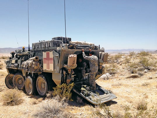 A specially equipped Stryker provides medical support to Comanche Troop with 6-1 Cav and is used to evacuate mock casualties in the war game.
