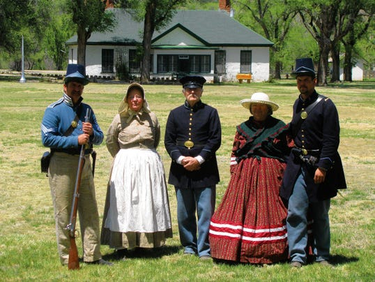 Staff and volunteers of Fort Stanton Historic Site in historic clothing have given tours and hosted hands-on activities for area school students. From left — Larry Pope (Manager of Fort Stanton) Victoria Davis, Ken Davis and Jo Pope (volunteers of Fort Stanton Inc.) and John Schultz (maintenance at Fort Stanton).