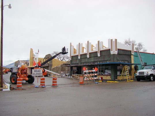 "Polly E. Chavez — For the Ruidoso News During the making of the ""Book of Eli,"" I took thousands of photographs of the emerging set and production of the movie. The photo shows the Heart of the Raven (former King's Grocery) being transformed into a Panda Express restaurant. Behind the scenes, it served as a commissary for the stars."