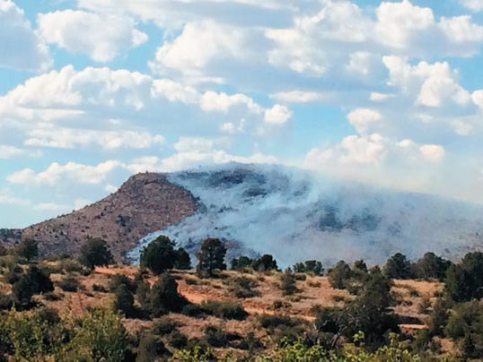 A wildfire that started Monday afternoon on Treasure Mountain, about six miles northwest of Silver City, had consumed 100 acres of BLM land by midday Tuesday. Courtesy Photo
