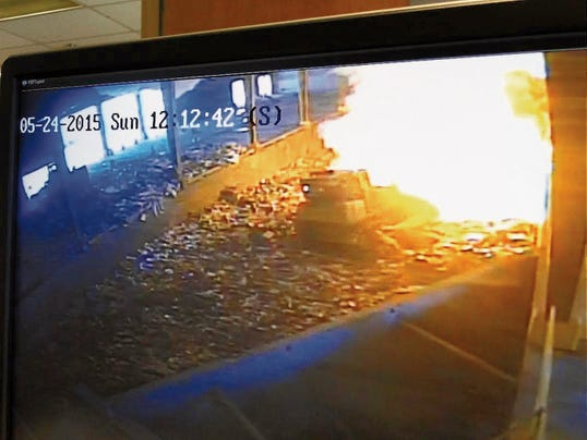 An explosion May 24 in the South Central Slid Waste Authority pit caught on tape is believed to be caused by a can of gasoline that someone tossed in their trash.