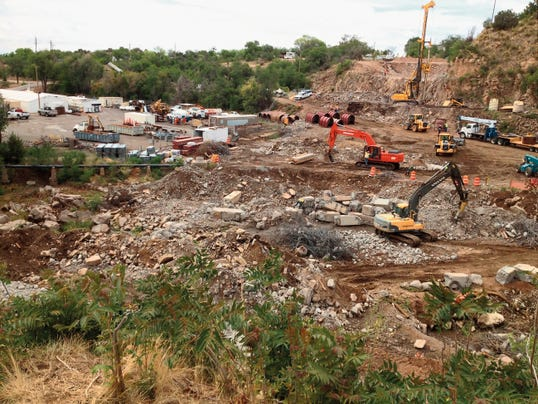 Randal Seyler Photo   The Hudson Street Bridge is gone and work was beginning on the footing for the new structure on Tuesday morning. The New Mexico Department of Transportation will hold its monthly public information meeting at 6 p.m. today at the Grant County Convention Center. The replacement bridge is expected to be completed in December at a cost of 7.4 million.