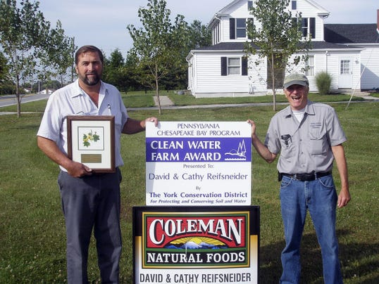 David Reifsneider, left, with former York County Conservation District ag resource conservationist Lowell Luft.