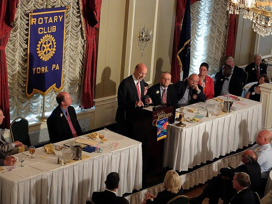 Governor Tom Wolf addresses the York Rotary Club during their 100th Anniversary Luncheon, Wednesday July 29, 2015.  John A. Pavoncello - jpavoncello@yorkdispatch.com