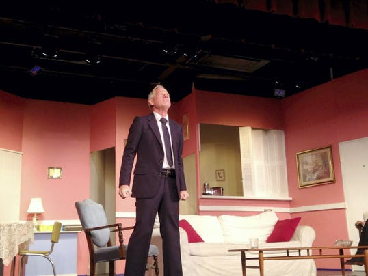 "James Robert Clark portrays Barney Cashman during a rehearsal of ""Last of the Red Hot Lovers"" in September 2014 at Hanover Little Theatre."