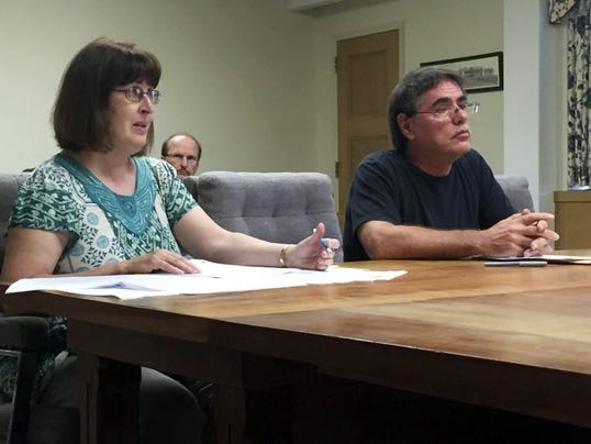 Ann Pinca and Michael Schroeder of Lebanon Pipeline Awarness discuss pipeline issues with the Lebanon County commissioners on Wednesday.
