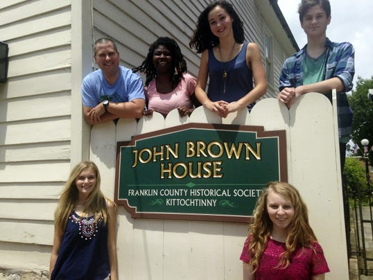 """Some participants in a Chambersburg Career Magnet School video production of anti-slavery activist John Brown are, front row from left: Bailey Orange, junior; and Ashley Dice, senior. Back row, instructor Wesley Foltz; and seniors Rachaelann Klink, Jessica Seltzer and Cameron Reinhart. The video """"John Brown ... is violence the answer?"""" will be shown hourly from 10 a.m. to 4 p.m. on Old Market Day, July 18, in King Street Community Center."""