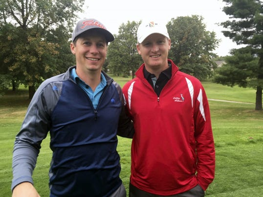 Scott Kegerreis, left, and Andrew Hodge won the championship of the 2015 Fall Classic held last weekend at Chambersburg Country Club. The duo finished with a three-round total of 196 to win the better ball tournament by three strokes.