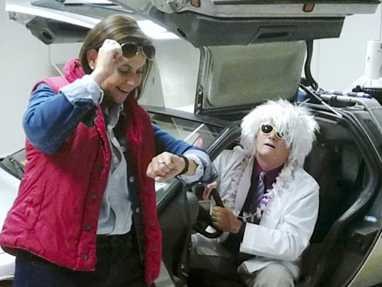 Nancy Gates as Marty McFly and accounting manager Dennis Beck as the Doc.