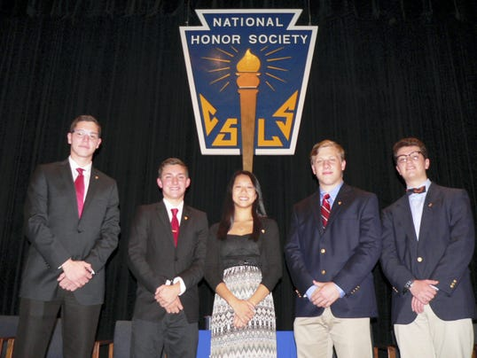 The 2015-16 Cedar Crest High School National Honor Society officers lead the induction ceremony for 57 new members. Pictured are, from left, Secretary Chris Rothermel, President Nick Tull, Vice President  Kyla Waldron, Vice President Joshua Zavadak and Treasurer William Nieman.
