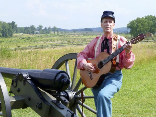 Jeff Greenawalt, a history buff, plays music and does a character interpretation of George Washington.