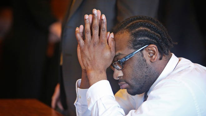 PORTLAND, ME - JULY 19: David Marble, Jr. reacts after hearing the jury's guilty verdict at the Portland Superior Court.