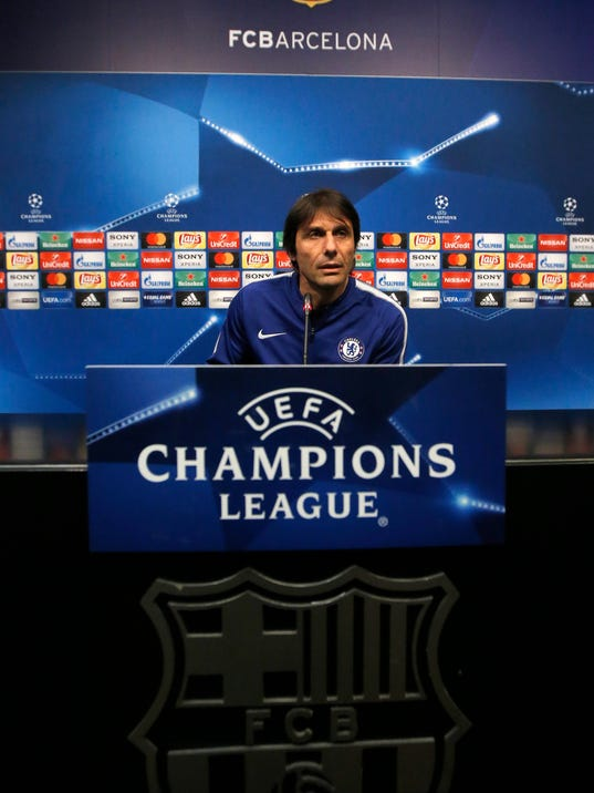 Chelsea's coach Antonio Conte attends a press conference at the Camp Nou stadium in Barcelona, Spain, Tuesday, March 13, 2018. FC Barcelona will play against Chelsea in a Champions League round of sixteen second leg Wednesday. (AP Photo/Manu Fernandez)